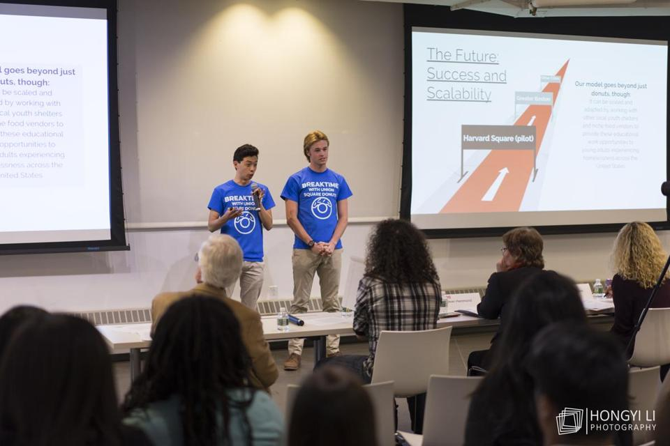 Connor Schoen and Tony Shu presented their idea to the Harvard Innovation and Ventures in Education competition.